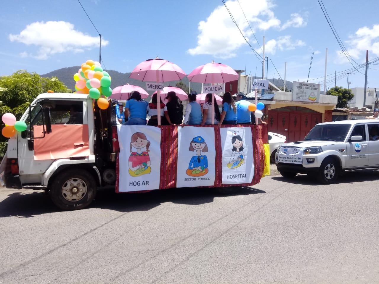 Realizan caravana en La Esperanza, por la Semana de la Lactancia Materna