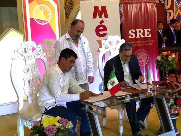 Xela firma hermanamiento con municipio mexicano