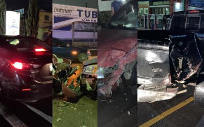 05 vehículos accidentados, motorista sufre caída y reporte de pilotos ebrios. La primera noche sin Toque de Queda en Xela