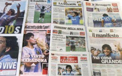 Desde el «Boston Globe» hasta el «L'Équipe» de Francia, las portadas por la muerte de Diego Maradona
