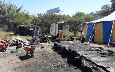 Incendio en circo dejó sin donde dormir a sus integrantes, piden ayuda de vecinos