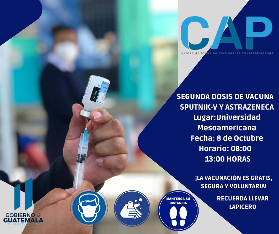 Puestos de vacunación en Xela, para el viernes 08 de octubre de 2021