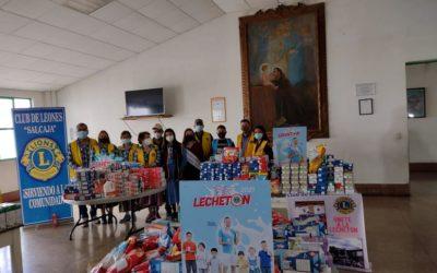 ¡Meta superada! Club de Leones entrega 1 mil 621 litros de leche al hogar del Niño Minusválido Hermano Pedro
