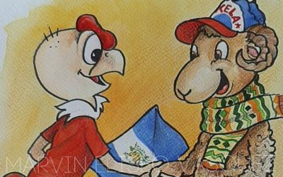 Caricatura con chivito quetzalteco saludando a «Condorito» fue entregada al embajador de Chile, por parte del artista Marvin Vásquez